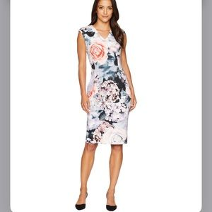 Calvin Klein Floral V-Neck Scuba Sheath Dress